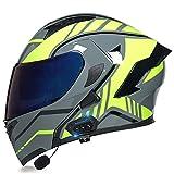 YALIXING Bluetooth Integrado Casco De Moto Modular con Doble Anti Niebla Visera Cascos De Motocicleta ECE Homologado Forro Ventilado Y Transpirable para Hombre Y Mujer
