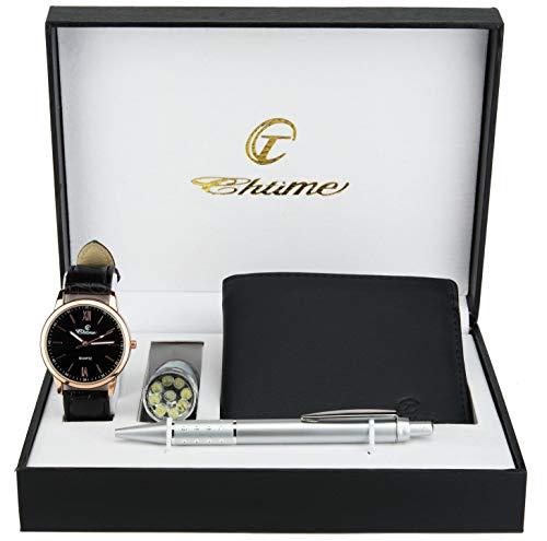 Geschenkset Herren Armbanduhr Schwarz Gold  Taschenlampe  LED - Stift