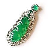 Hermoso y noble Cadena de plata de alta gama, lujoso colgante de calcedonia verde incrustada, judía verde y precioso colgante de frijol verde collar colgante de jade para mujeres de viaje de mujer par