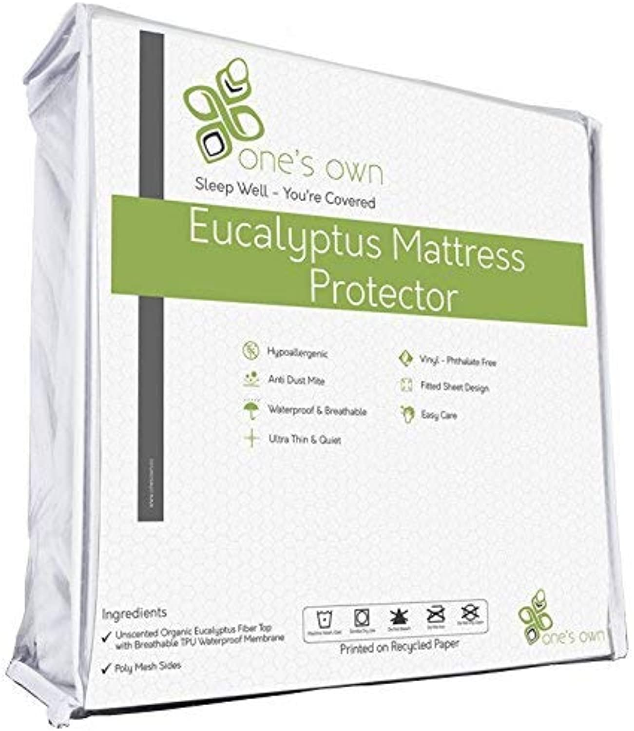 One's Own Mattress Predector, Renewable Organic Tencel Eucalyptus Fiber Top, TPU Waterproofing, Hypoallergenic, Five-Sided, White (CA King)