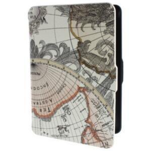 Tutoy Retro World Map Pattens PU Funda De Piel De Cuero para Amazon Kindle Paperwhite-Beige Blanco
