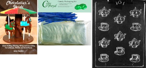 """Cybrtrayd Mdk50BBk-D100\""""Bite Size Tea Pots and Bite Size Demi-Tasse Cup Dads and Moms\"""" Chocolate Candy Mold with Bundle of 50 Cello Bags, 50 Blue Twist Ties and Chocolatier\'s Guide"""