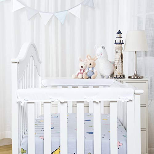 TILLYOU 2-Pack Padded Baby Crib Rail Cover Protector Safe Teething Guard Wrap for Narrow Side Crib Rails(Measuring Up to 8' Around), 100% Silky Soft Microfiber Polyester, Reversible, White