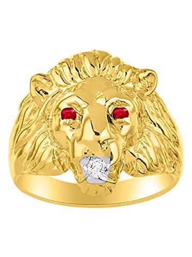 Rubino e diamante testa di leone anello oro giallo 14K Band