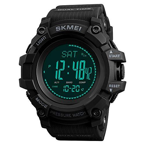 TONSHEN Hombre Reloj Outdoor Militar Digital Brújula LED Electrónica Doble Tiempo Altímetro...