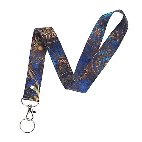 Lanyard, Lizimandu Keychain Holder Flat Lanyards with Swivel Hook Attachment(Blue Flower)