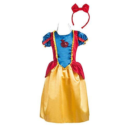 Limit Sport Schneewittchen Kostüm Kinder 2tlg Märchen Kostüm Kleid und Haarreif gelb blau rot - 9/11 Jahre