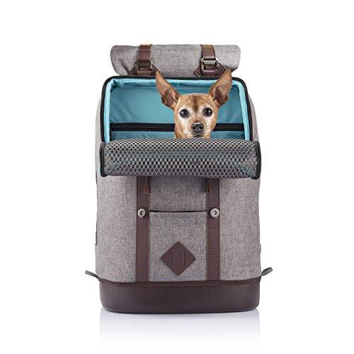 Kurgo K81024 Hunde Tasche - Rucksack für kleine Haustiere - K9 Rucksack - Grau Meliert - Wasserdichter Boden - Rucksack für Hund bis 11kg - Tasche für Katzen, 1361 g
