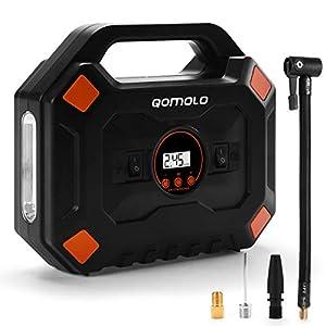 Qomolo Compresor de Aire Coche Portátil, 12V Bomba de Aire Eléctrico Hinchador con Luz LED,4 Adaptadores de Válvulas, para Inflar Neumáticos de Coche Motocicleta Bicicleta y Baloncesto, 120PSI