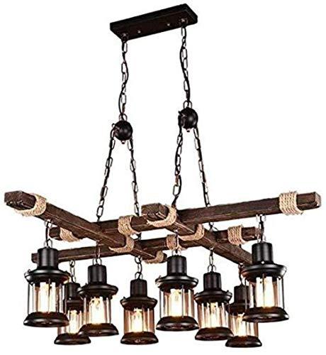 Araña de madera de 8 cabezas personalizada E27/E26 Araña ajustable de hierro metal comedor araña de cocina 8 luces lámpara de queroseno de cristal lámpara de araña fácil de instalar