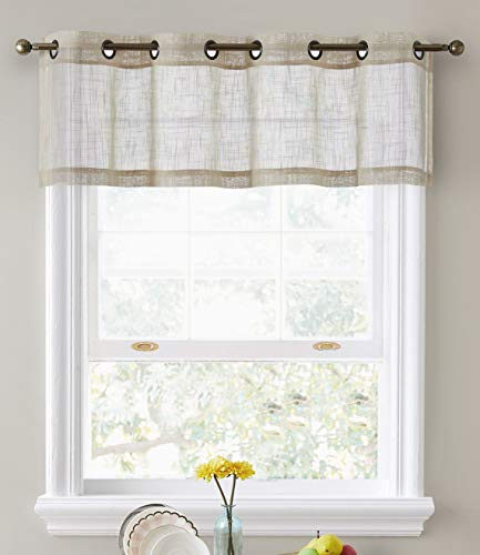 HLC.ME Abbey Faux Linen Textured Semi Sheer Privacy Light Filtering Transparent Thick Half Short Grommet Curtain Valance Topper for Small Windows, Bedroom & Bathroom (54 W x 18 L, Beige)