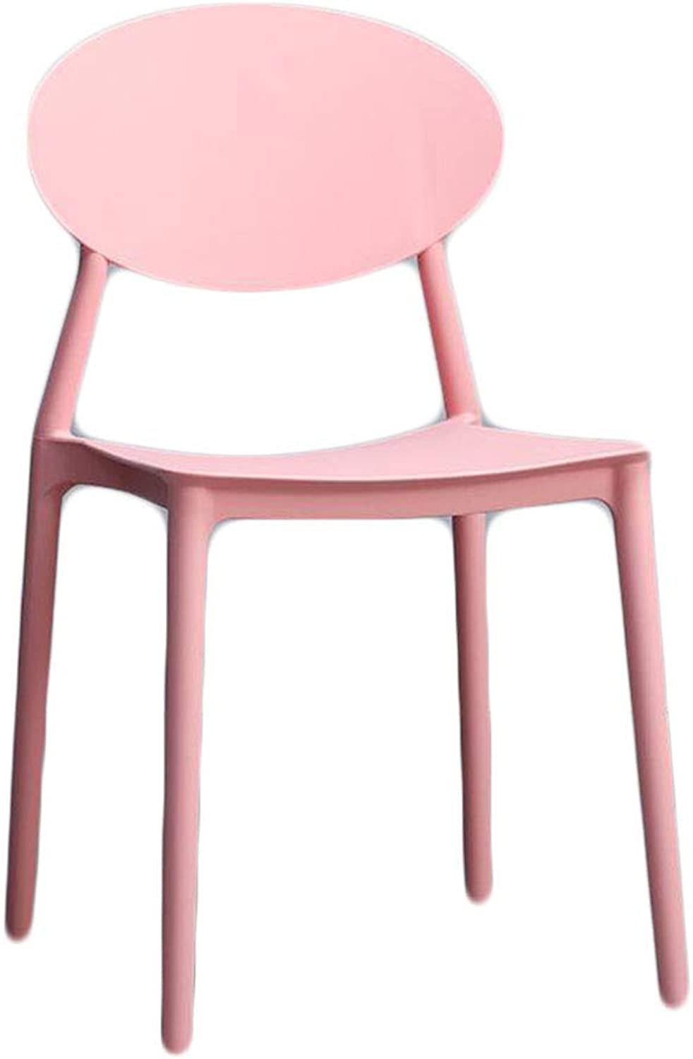 LYXPUZI Chair Home Lazy Plastic Stool Chair Nordic Leisure Chair Dining Chair (color   Pink)