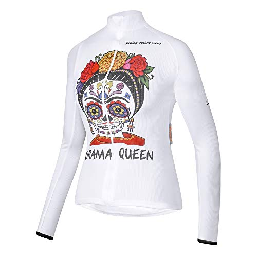 prolog cycling wear Radtrikot Damen Langarm Weiss, Fahrradtrikot Langarm für Frauen, atmungsaktiv, elastisch, Antistatik-Finish, 3 Rückentaschen, weiß, bunt, XXS bis XXL
