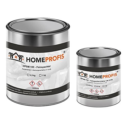 Home Profis® HPSM-100 Feinspachtel auf Epoxidharz Basis (1,5 kg) Spachtelmasse Füllspachtel Reparaturspachtel GFK Holz Beton Estrich Autoreparatur Bereichsausbesserung