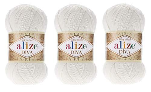 Alize Diva, 100 prozent Mikrofaser-Acrylgarn, seidiger Effekt, Häkelgarn, Kunst, Spitze, Basteln, 3 Knäuel, 300 g, 1150 m, Handstrickgarn (450 Perlen)