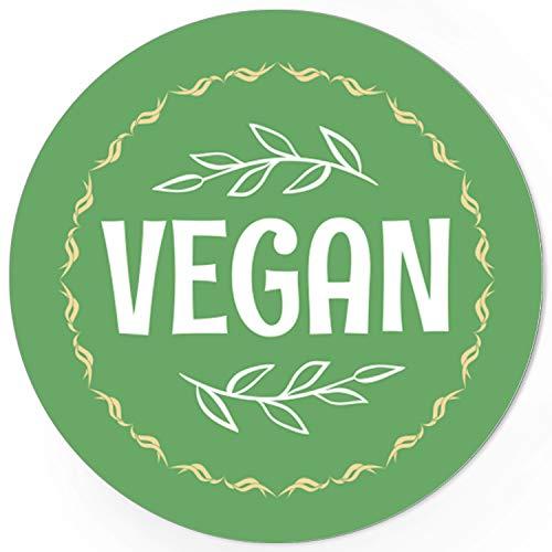 48 runde Design Etiketten - VEGAN - Aufkleber passend für Vegetarisch Hotel Buffet Essen Nahrungsmittel - Motiv: Vintage Grün