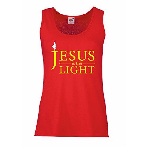 lepni.me Camisetas sin Mangas para Mujer Jesucristo es la Luz, el Amor de Dios - Pascua - Resurrección - Natividad - Regalos Cristianos Religiosos (Medium Rojo Multicolor)