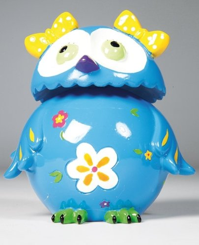 Kare Spardose Eule Little Owl Auswahl, mit Wackelkopf, Maße: 15 x 11 x 8 cm, Material: Polyresin, Sparschwein - Ersatz für Kinder, ideal für Geld-Geschenk, Farbe:blau
