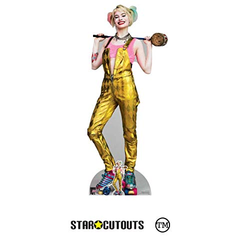 Star Cutouts Ltd-Star Cutouts SC1511 Harley Quinn Gold Jumpsuit Margot Robbie Birds of presa Altura 169 cm Ancho 72 cm