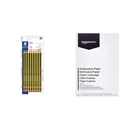 Staedtler Noris 120-2BK10D. Lápices de madera certificada. Caja de 10 unidades. + AmazonBasics Papel multiusos para impresora A4 80gsm, 1 paquete, 500 hojas, blanco