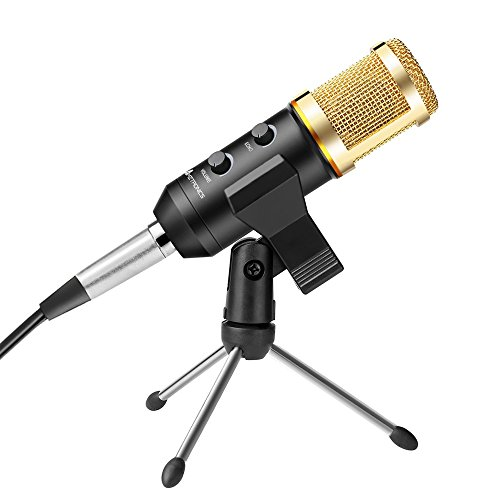 Recording Microphone, AMZtronics Home Studio Dynamic Cardioid Vocal USB Recording Condenser Microphone with Fold-able Tripod Stand for Recording, Podcasting, Online Chatting,Facebook, YouTube, Skype
