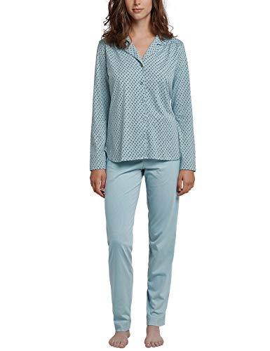 Schiesser Damen Pyjama lang Zweiteiliger Schlafanzug, Grün (Jade 713), 48 (Herstellergröße: 048)
