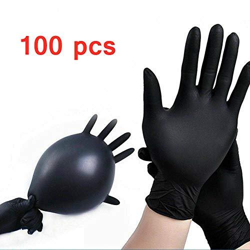 AMZYY 100 Stück Schwarze Nitril-Einweghandschuhe Beauty Care Tattoo Latexfreie Puderfreie Handschuhe Medizinische Handschuhe Einweg-Mehrzweckhandschuhe,Black-M