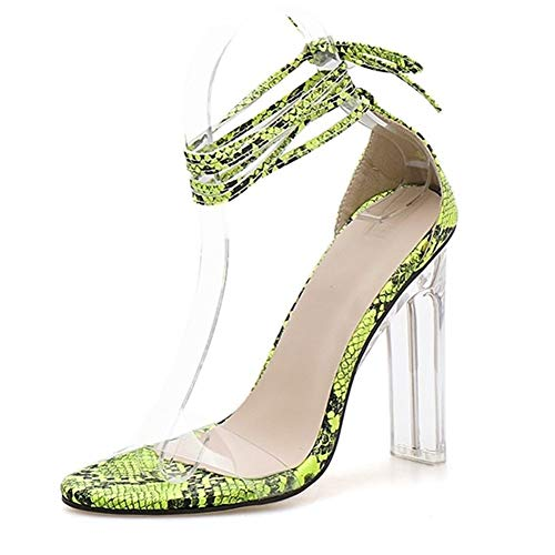 Comfortabel en veelzijdig temperament Sandalen For Women Ankle Lace Up Strappy Wrap Kalf slangenprint 11cm Chunky Clear Heel Single Band Faux Leather Open Teen hjm nvxie jfidmra