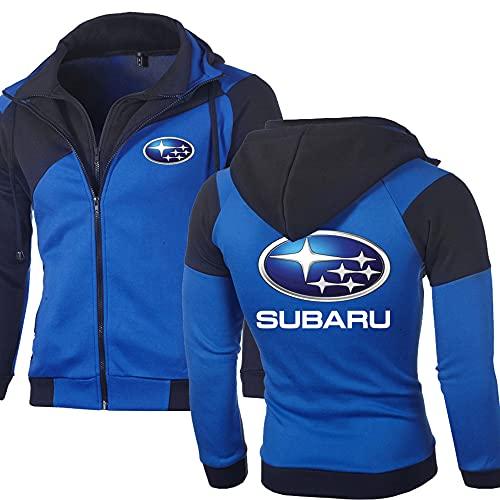 AAPP Chaquetas Tipo Sudadera para Hombre para Subaru Sudadera con Capucha Informal De Manga Larga con Estampado GráFico Jersey De BéIsbol Chaqueta Doble Sin Cordones,Blue,XL