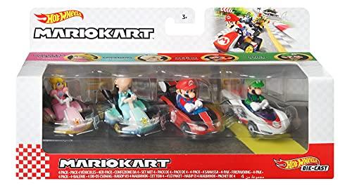 Hot Wheels Mario Kart coffret 4 mini-véhicules Peach, Harmonie, Mario et Luigi échelle 1:64, inspiré par les voitures du jeu, jouet pour enfant, GXX97