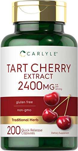 Tart Cherry Extract Capsules | 2400mg | 200 Count | Non-GMO and Gluten Free Formula | Traditional Herb Supplement | by Carlyle
