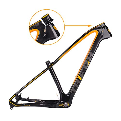 TRIFOX 27.5/29er Gold Carbon Fiber Mountain Bike Frame Carbon MTB Bicycle Frame 31.6mm Thru Axle Compatible (Yellow, 19inch)