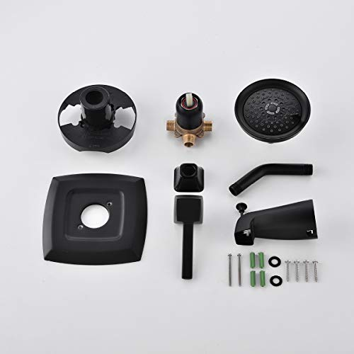 APPASO Shower System, Shower Faucet set Matte Black, Tub and Shower Valve Kit with 5-Function Spray Head, Bathtub and Single Handle Bathroom Rain Shower Trim Kit Wall Mount, APT110MB