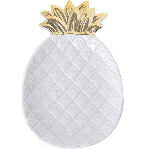 Kaikai Ceramic Jewelry Plate Pineapple Platter Storage Tray Jewelry Tray Pastry Heart Plate Fruit Plate (Color : White) (Color : White)