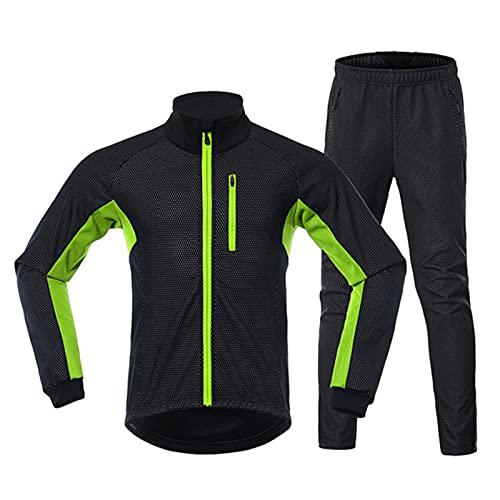 Giacca Antivento Impermeabile Termico Invernale Ciclismo sport All?aperto da Uomo, antivento, impermeabile, traspirante + Pantaloni, per ciclismo (Green,M)