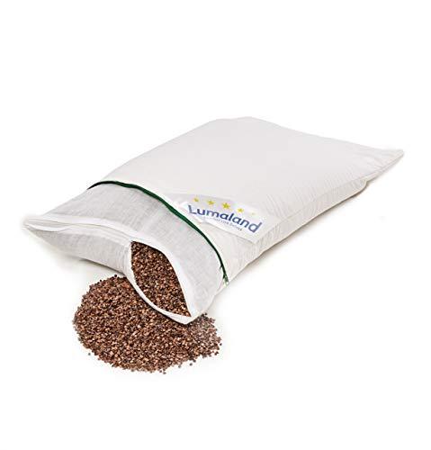 Lumaland Buchweizenkissen Kissen gesteppt Baumwoll-Bezug Reißverschluss und Buchweizenspelz-Füllung in Weiß 40 x 60 cm