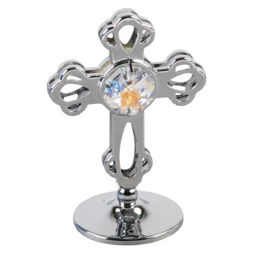 Crystocraft Keepsake Gift Ornament - Silver Cross with Swarvoski Crystal Elements
