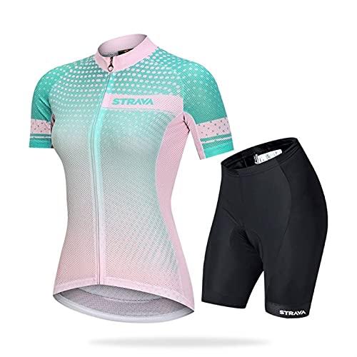 HXSCOO Jersey à vélo pour Femmes Manches Courtes MTB Vêtements de vélo T-Shirts de vélo Short Pantalon rembourré (Color : B, Size : XL)