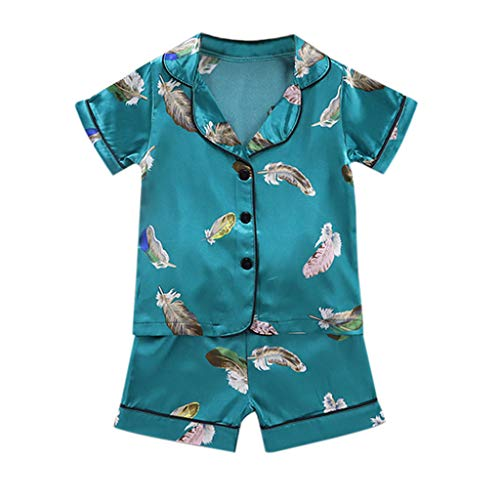 LEXUPE Kleinkind Baby Boy Girl Kurzarm Cartoon Tops + Shorts Pyjamas Nachtwäsche Outfits(D-Grün,80)