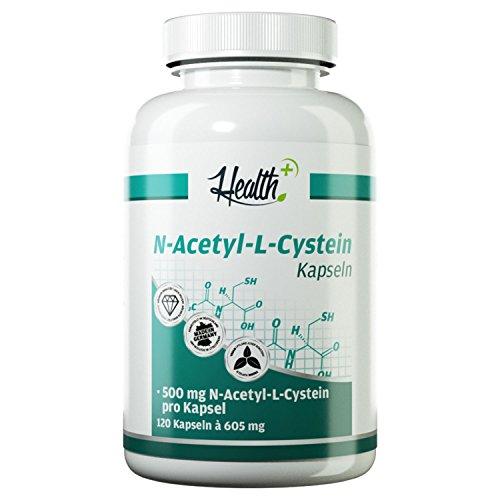 HEALTH+ N-Acetyl-L-Cystein - 120 Kapseln, 500 mg reines Acetylcystein pro Kapsel, hochdosierte NAC Kapseln - MADE IN GERMANY