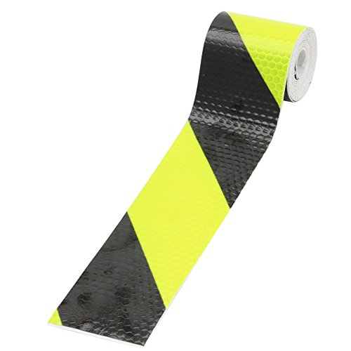 """Kocome Chic 2""""X118"""" Reflective Safety Warning Adhesive Engineering Marking Tape Sticker (Black-Fluorescent Green)"""