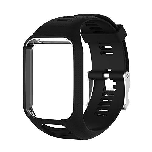 Yivibe Pulsera para Tomtom Runner 2 3 Series Silicone Reemplazo GPS Reloj de Reloj Smart Watch Strap Silicone Strap Fitness Tracker (Color : Black)