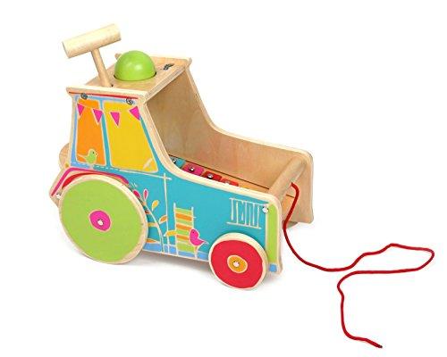 small foot 10377 Jouet de motricité Tracteur xylophone en bois inclus, avec jouet à marteler pour faire de la musique, à partir de 18 mois