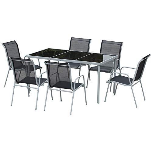Outsunny Set Mobili da Esterno 7 Pzi: 1 Tavolo da Pranzo Vetro Temperato + 6 Sedie Textilene Impilabili, Grigio e Nero