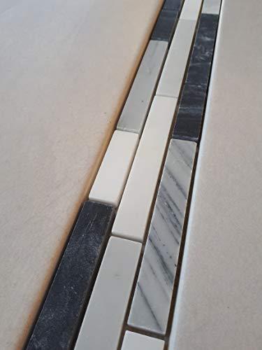 Naturstein Mosaik Bordüre aus italienischem Bianco Carrara, Mugword Grey und Grey Black Marmor im Format von 30 x 5 cm