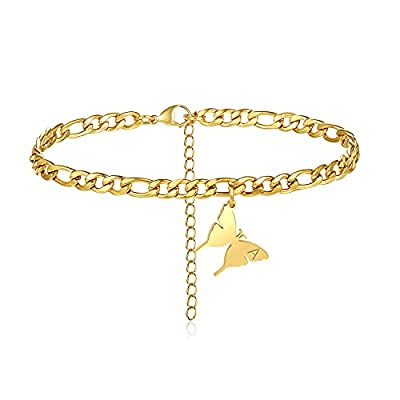 XSILA Butterfly Initial Ankle Bracelets for Women Girls 18k Gold Plated Stainless Steel Letter Anklet Length Adjustable(A)