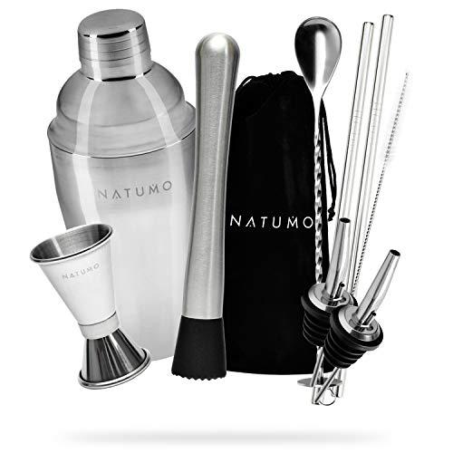 NATUMO ® Cocktail Shaker Set Edelstahl - 10 teiliges Cocktailshaker Set, Cobbler Shaker, Doppel-Messbecher, Stößel, Dosierer, Löffel, Strohhalme