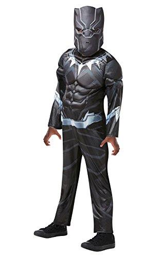 Rubies Disfraz infantil marca S modelo 640908 9–10, de personaje de justiciero de Marvel, pantera negra, fastuoso disfraz para varones, talla única