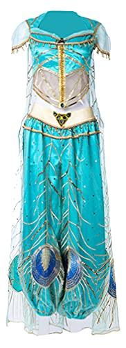 Aladdin Naomi Scott Princess Cosplay Costume Jasmine Peacock Dress Outfit for Adult Women Halloween (Jasmine Princess, Large)
