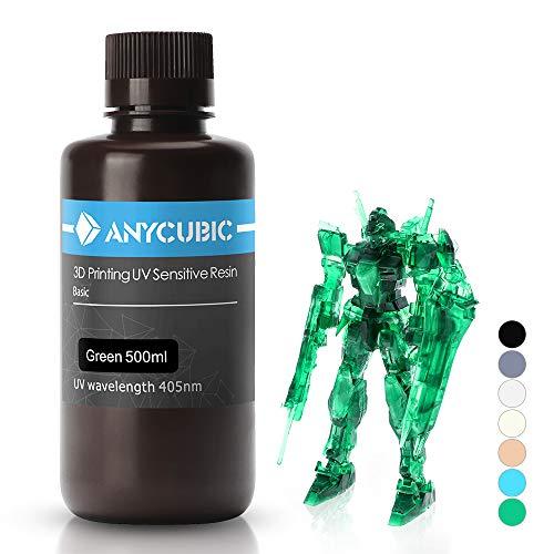 ANYCUBIC 3D Drucker UV Resin 405nm schnellhärtendes Photopolymer für den Photon/S flüssiges 3D Resin hochpräzise für LCD/DLP/SLA 3D Drucker, 500ml Transparentes Grün
